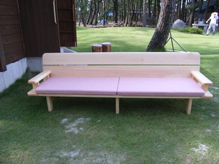 オーダーメイド木曽ひのき背付きベンチ