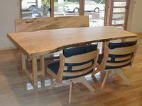 栃の一枚板テーブル ベンチと椅子
